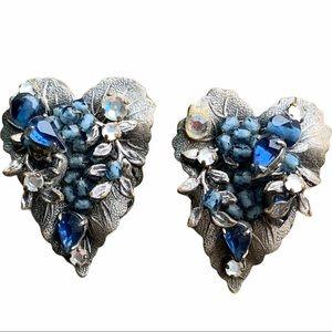 DeMario NY Sapphire Blue Crystal Rhinestone